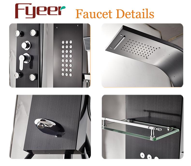 Fyeer Multifunction Massage Rainfall Stainless Steel Black Shower Panel