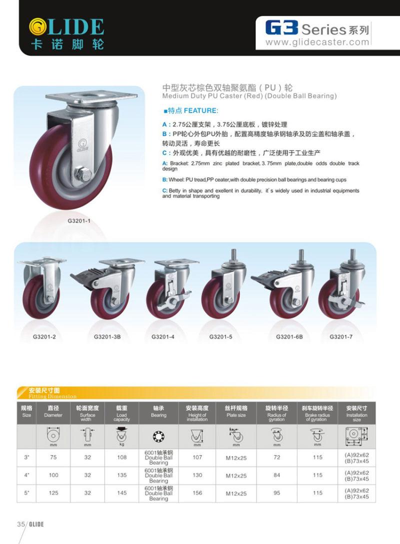 Medium Duty PU Swivel Caster (G3201)