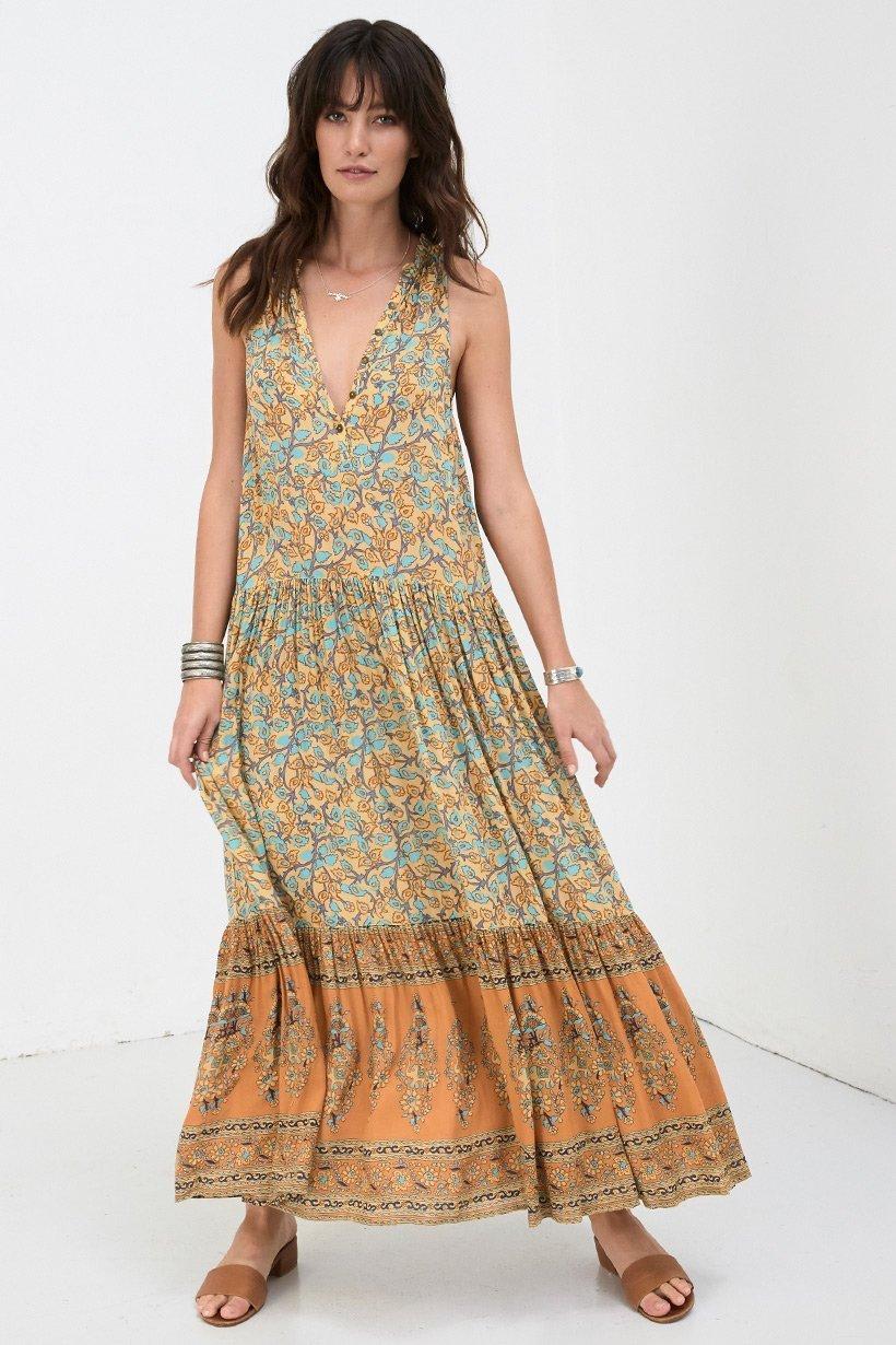 Sleeveless Flower Printing dress