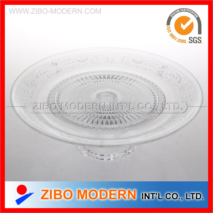 Wholesale Clear Glass Plates Big Glass Plate with Base for Fruit