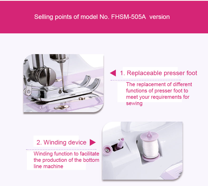 505 China Factory Electric Mini Zigzag Lockstitch Sewing Machine Industrial