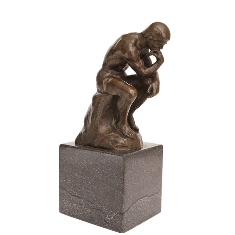 Classical Figure Bronze Sculpture The Thinker Deco Brass Statue TPE-185