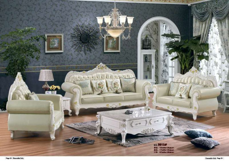 Royal Style Leather Sofa for Living Room Furniture (B015)