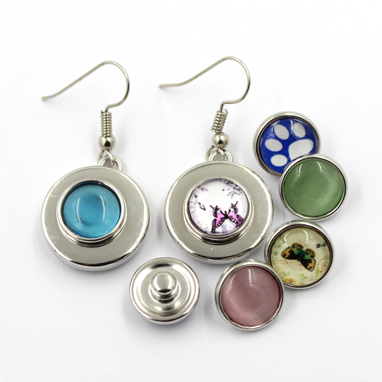 New Design Silver Fashion Jewelry DIY Snap Button Earring