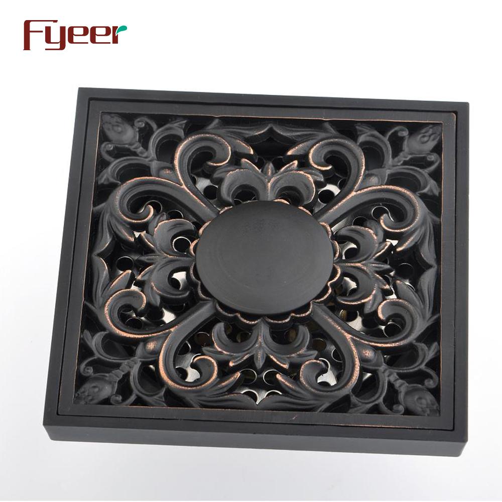 Fyeer Flower Design Bathroom Brass Black Floor Drain