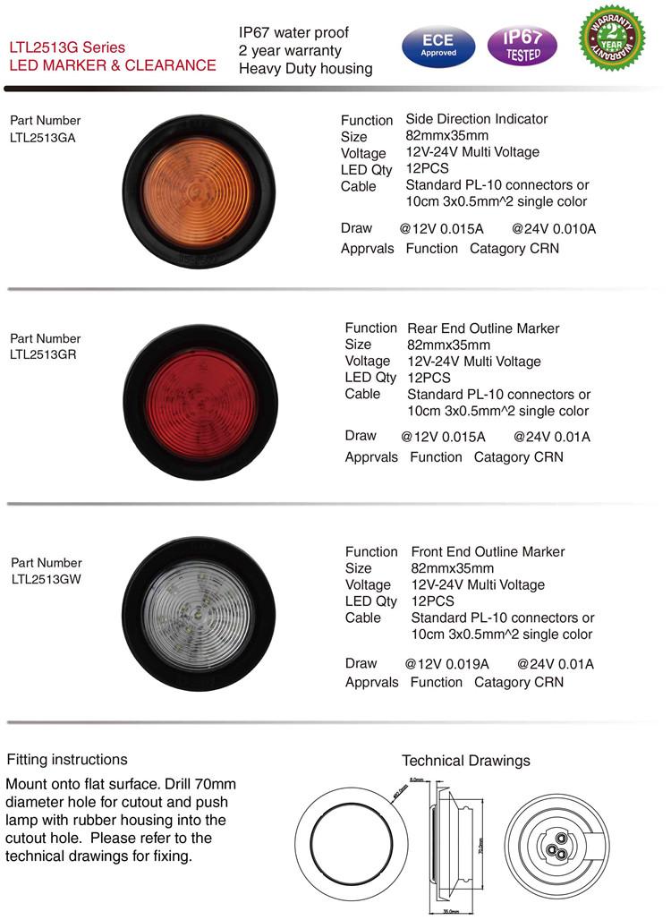 Ltl2513G IP67 Waterproof Marker Clearance Side Lamps for Truck