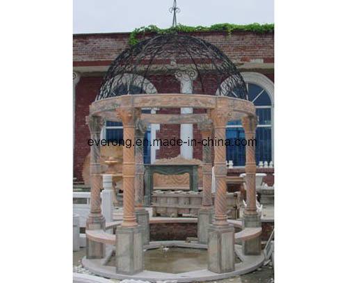 Large Size Natural Stone White /Yellow Marble Pavilion Garden Gazebo for Park Restaurant Ornament