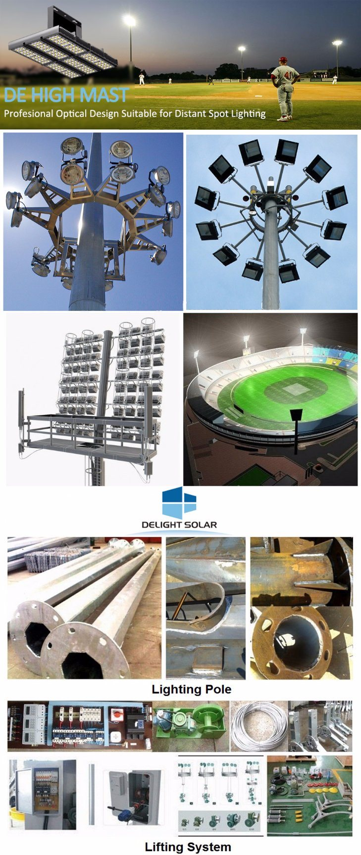 Stadium Light 2000W High-Pressure Sodium Elevator System High Mast Lighting