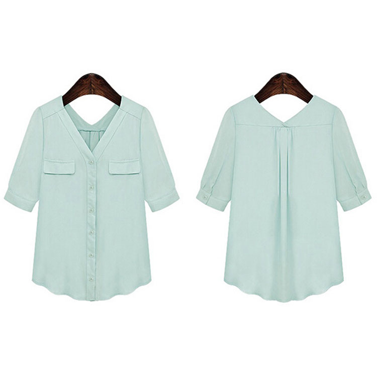 Women Fashion V Neck Chiffon Short Sleeve T-Shirt