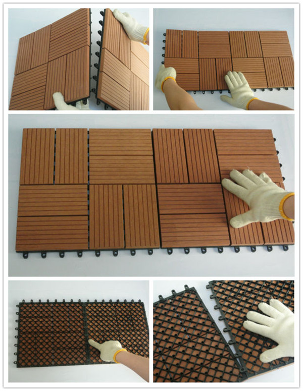300*300mm Wood Sheets Plastic Base Easy WPC Interlocking Tile