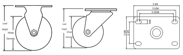 PP Wheels Plate Swivel Casters