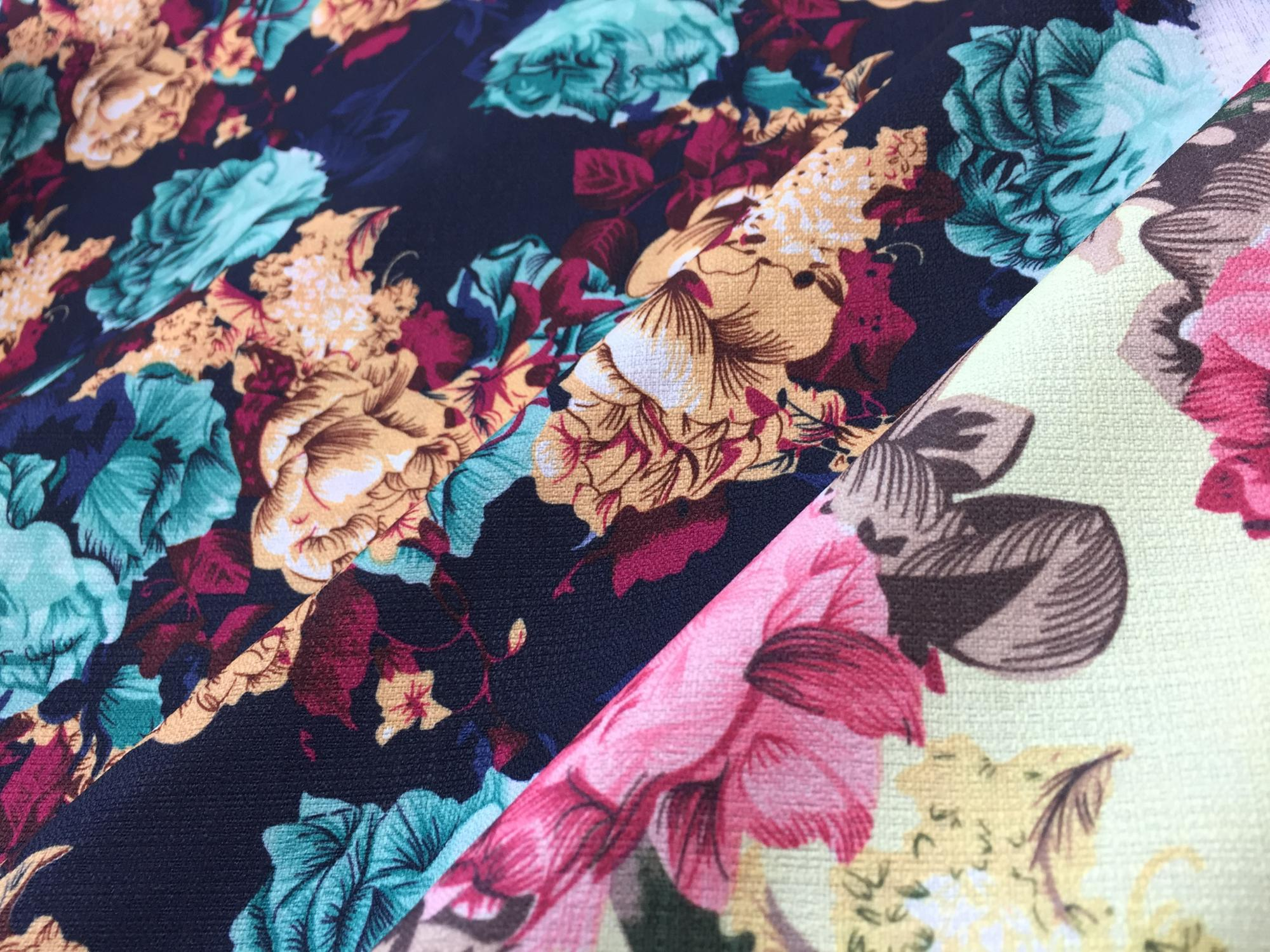 Polyester British Linen Floral Digital Printed Dress Fabric 2