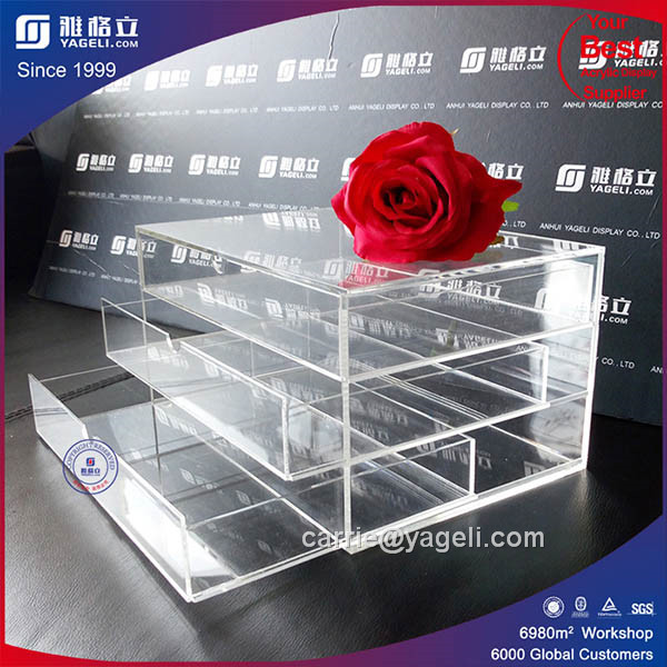 2016 Handmade Acrylic Clear Makeup Organizer with Divider