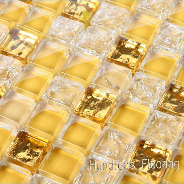 Gold Mosaic Wall Tile, Glass Mosaic (HGM344)