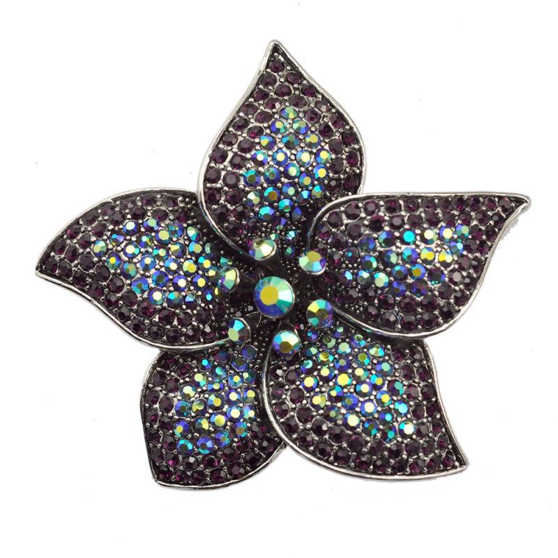 Fashion Rhinestone Big Flower Fantasy Silver Brooch