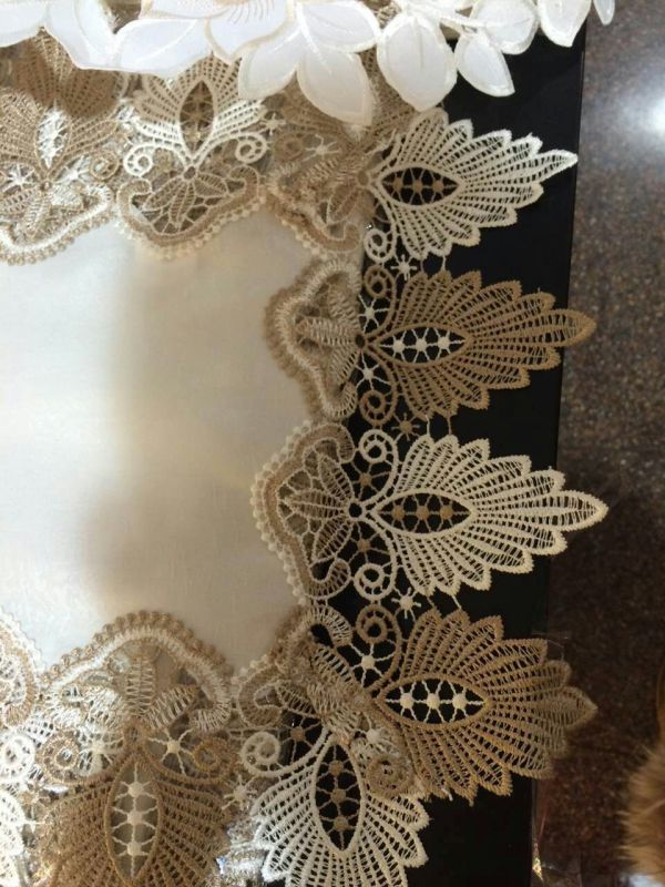 Circular Lace Border Embroidery Table Cloth 2016 New Design