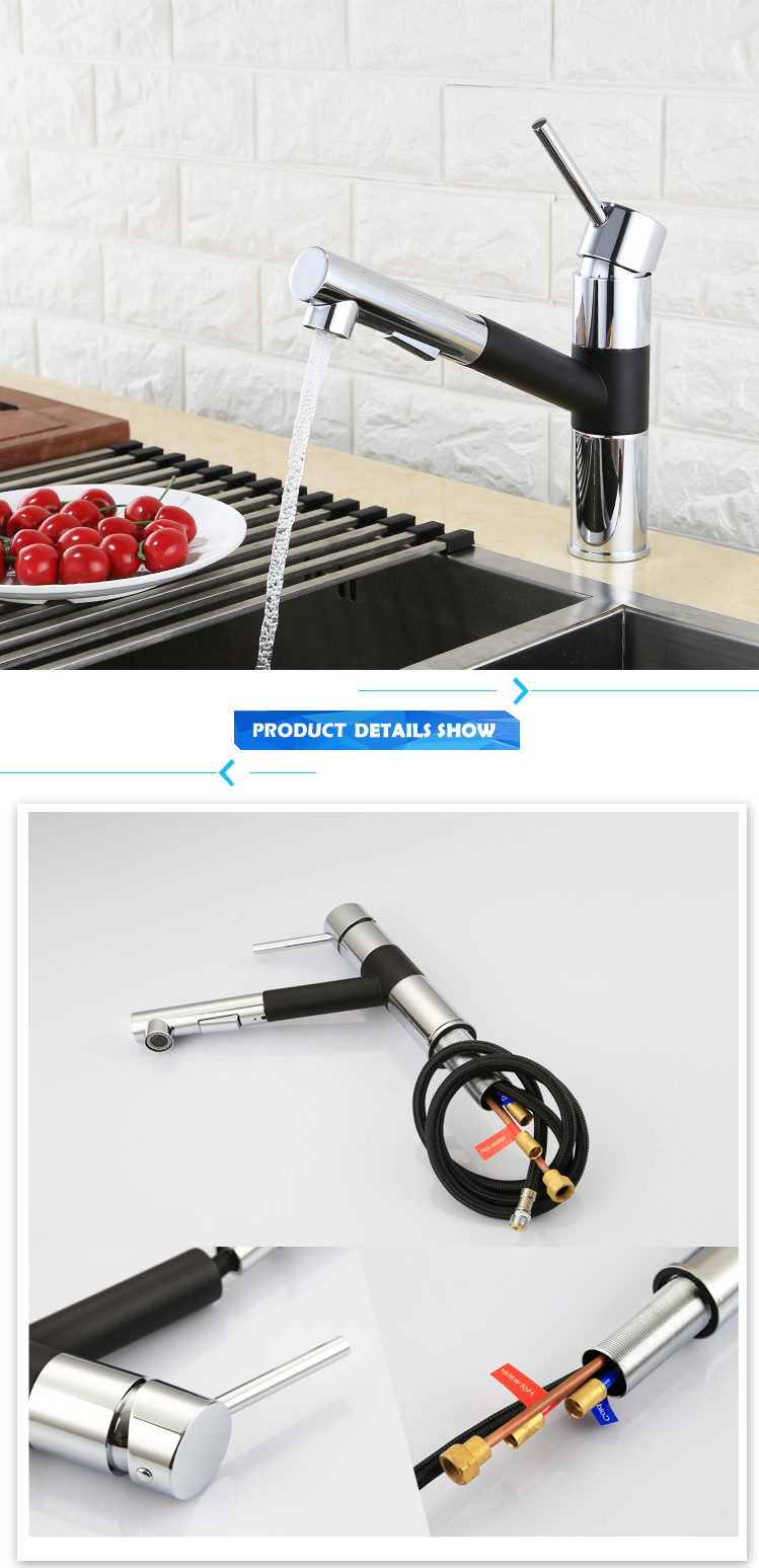 Commercial Deck Mounted Pull out Kitchen Sink Mixer for Sale