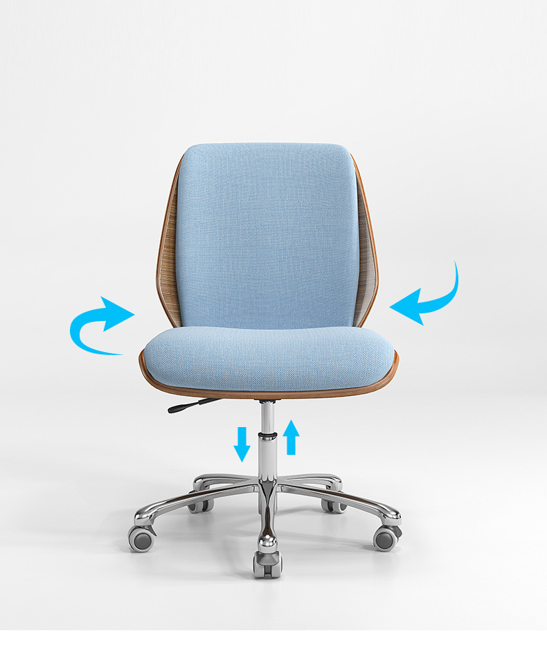 MID Back Office Fabric Chair with Wood Cover