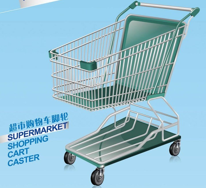 4-Inch Shopping Cart Caster with TPR Wheel