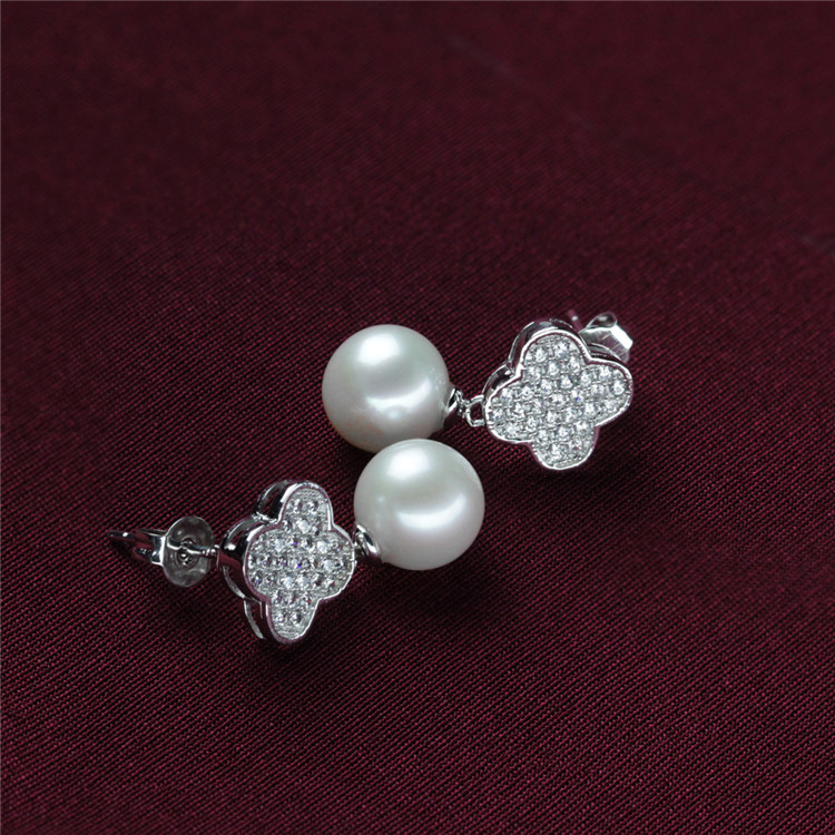 Clover Shape Beautiful Natural Freshwater 925 Silver Pearl Set