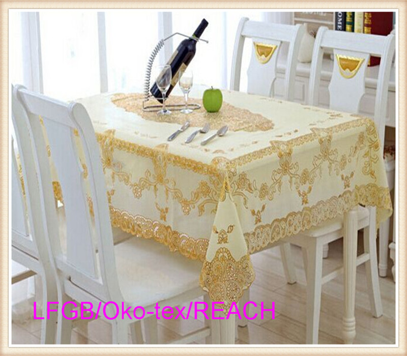 Elegant Rectangle PVC Lace Tablecloth with Gold Ready Tablecloth 60''x90''