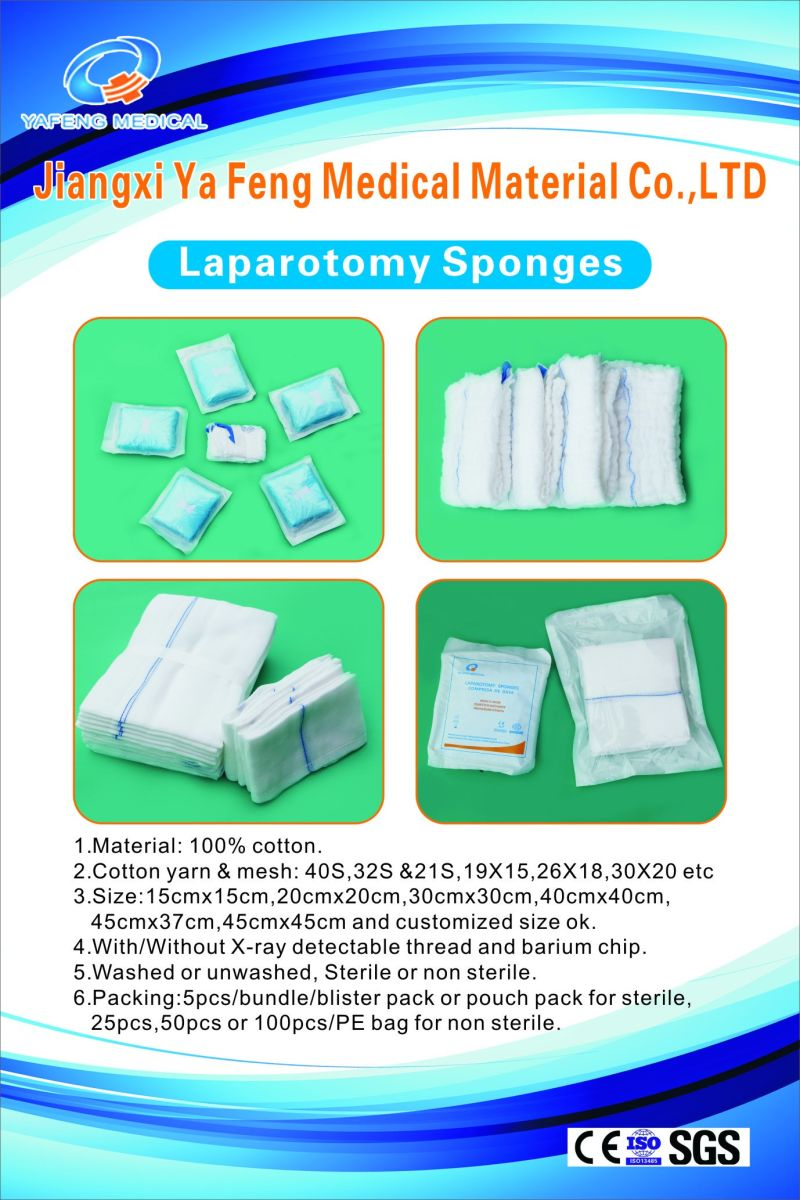 Prewashed Absorbent Lap Sponge 35cmx35cm-12ply