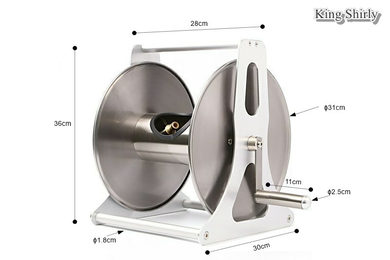 40m Capacity Wall-Mount Stainless Steel Garden Hose Reel