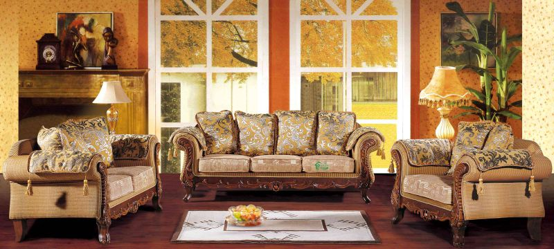 Living Room Furniture with Wood Sofa Set (D92)