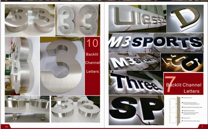 Stainless Steel LED Letters with Acrylic Front Name Advertising Sign