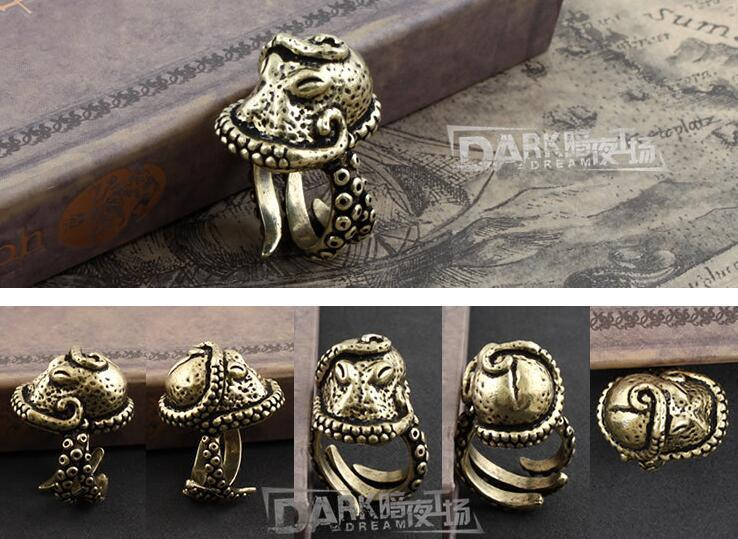Brass-Made Male Ring Octopus Modelling Retro Color Half Open