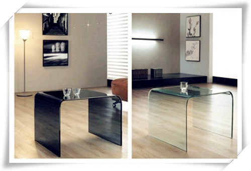 CB002m Round Corner Bent Glass coffee Table in Mirror Finish