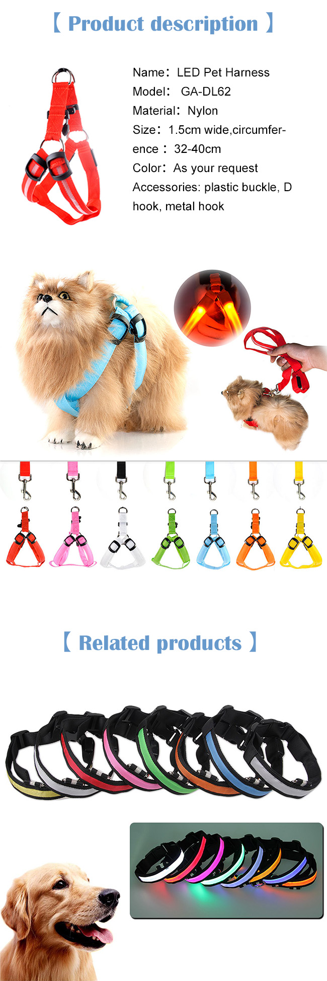 Pet Supply Truelove Pet Dog Harness with LED Light