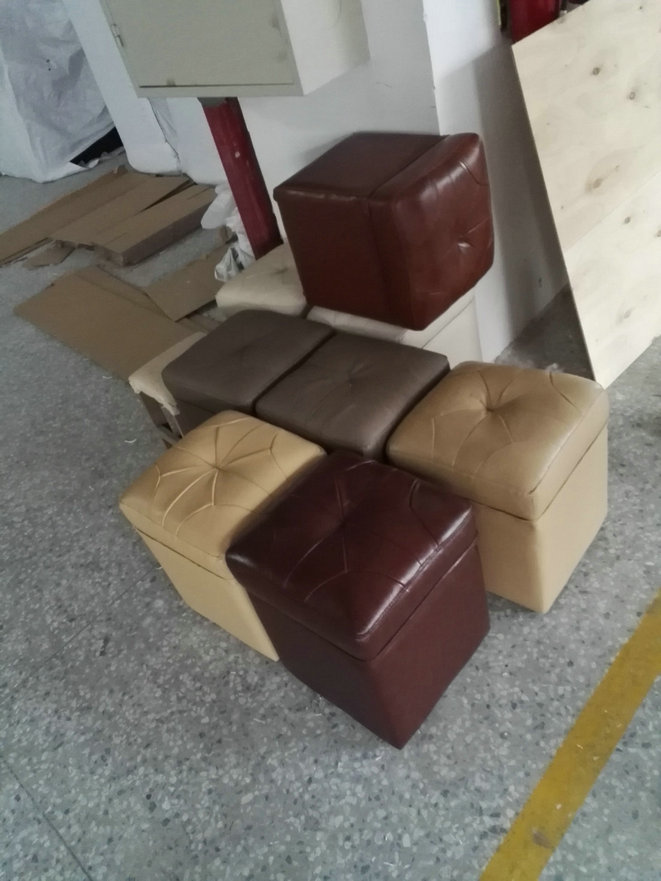 Contemporary Little Leather Stool in Living Room (C20)