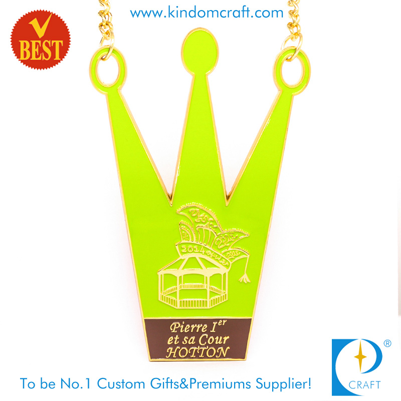 High Quality China Customized Soft Enamel Crown Shape City Medal with Gold Plating