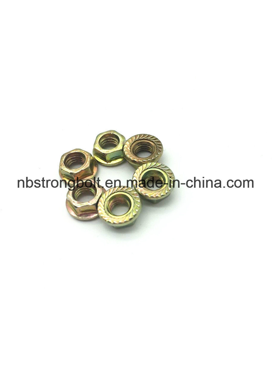DIN6923 Hex Flange Nut with Yellow Zinc Plated M6