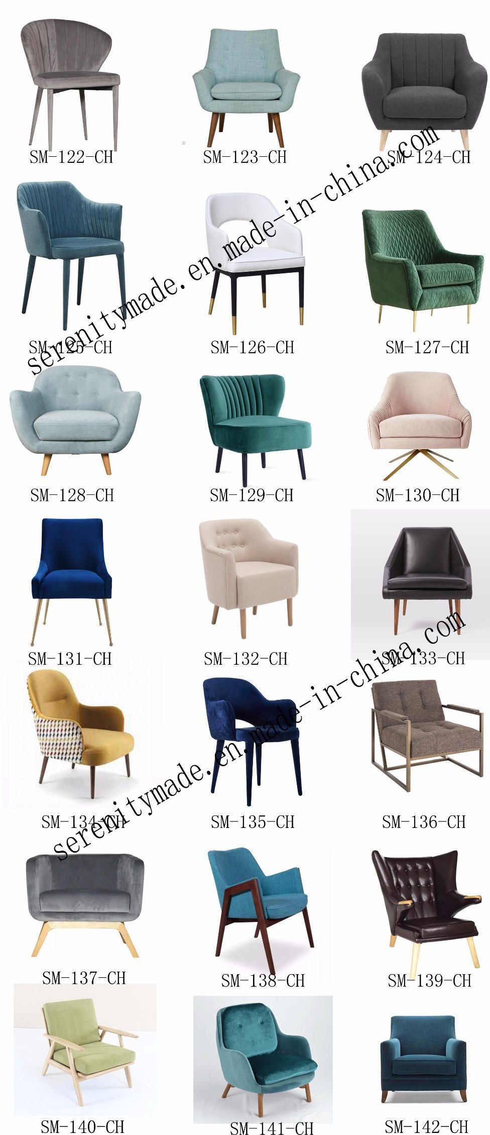European Style Color Linen/Velvet Fabric Sofa Chairs for Restuarant/Dining Room