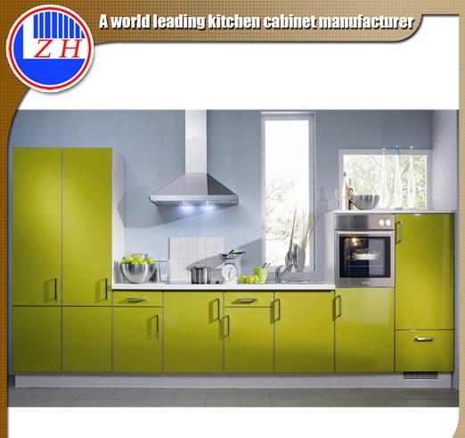 Glossy Modular Flat Pack Fiber Kitchen Furniture with Countertop Stone