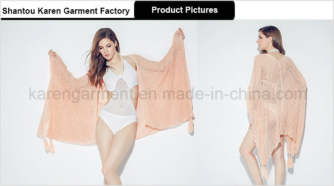 Women Beach Wear Pointelle Knit Poncho Swimsuit Cover up
