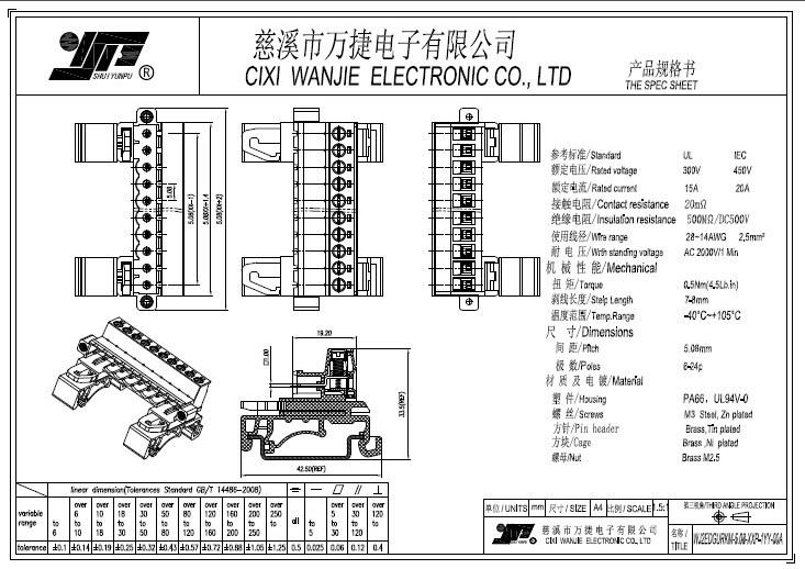 Plug-in Terminal Block with DIN Rail (WJ2EDGURKM-5.0/5.08mm)