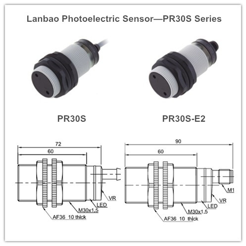 Plastic Diffuse Reflection Photoelectric Sensor (PR30S-BC50AT AC2)