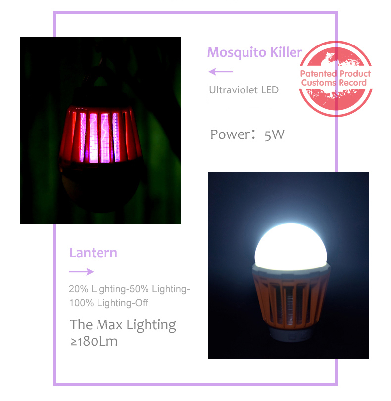 Rechargeable Insect Mosquitoes LED Zapper Fly Bug Killer Light
