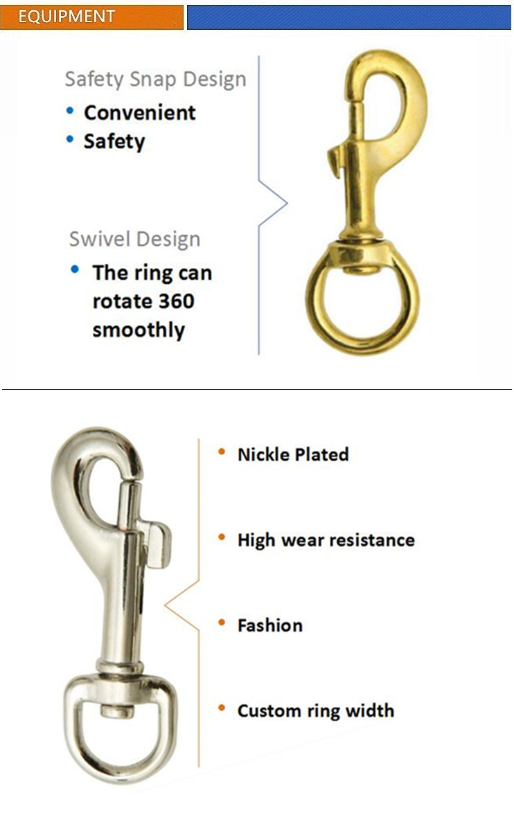 Fashion High Quality Brass Dog Collar Hardware Snap Hook