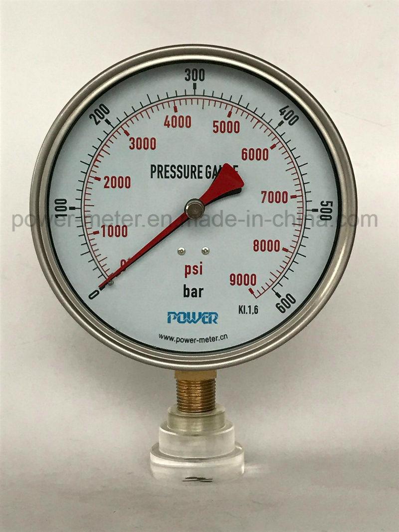 160mm 6 Inch Dial Stainless Steel Case Red Pointer Rememory Pressure Gauge Manometer Brass Conn 600 Bar 9000psi