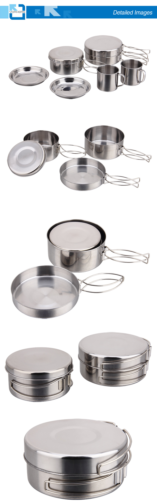 Fashionable 8 Pieces of Stainless Steel Outdoor Picnic Suit with Lunchbox & Plate & Cup
