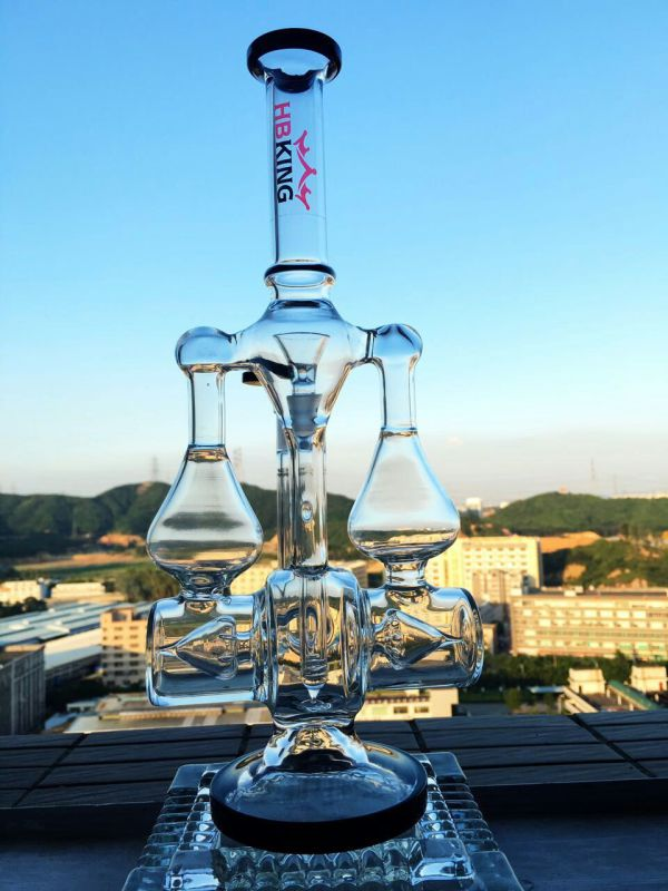 Wholesale 17inch 5mm Thickness Double Inline Recycler Stereo Matrix Percolator Glass Smoking Water Pipe