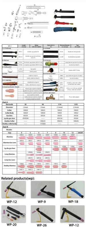 Kingq Industy Direct Price WP - 17 TIG Arc Welder Torch