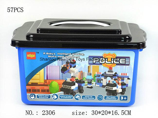 Set of Educational DIY Police Toy Bricks with Blue Bucket