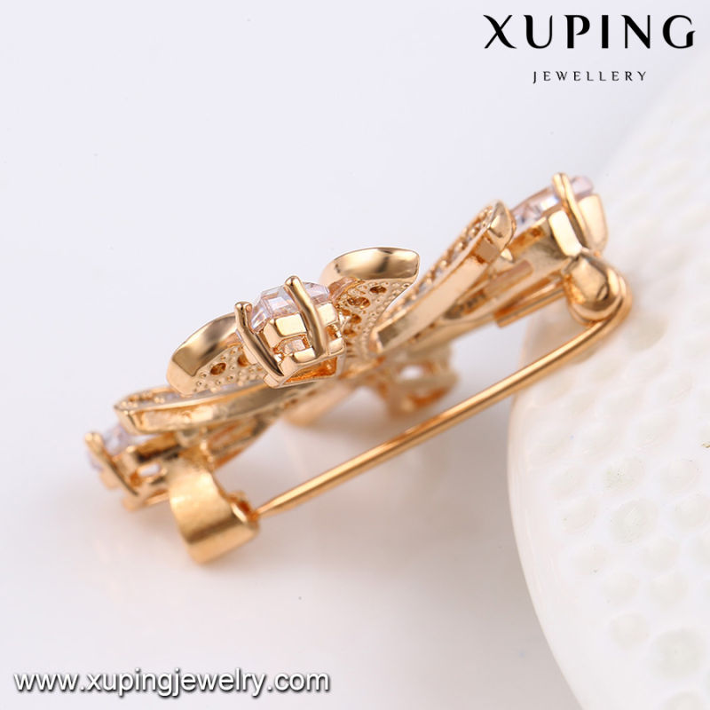 00025 Fashion Elegant Cubic Zirconia Jewelry Brooch in Rose Gold-Plated