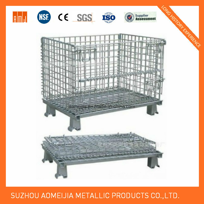 China Factory Metal Wire Warehouse Storage Cage with Wheels