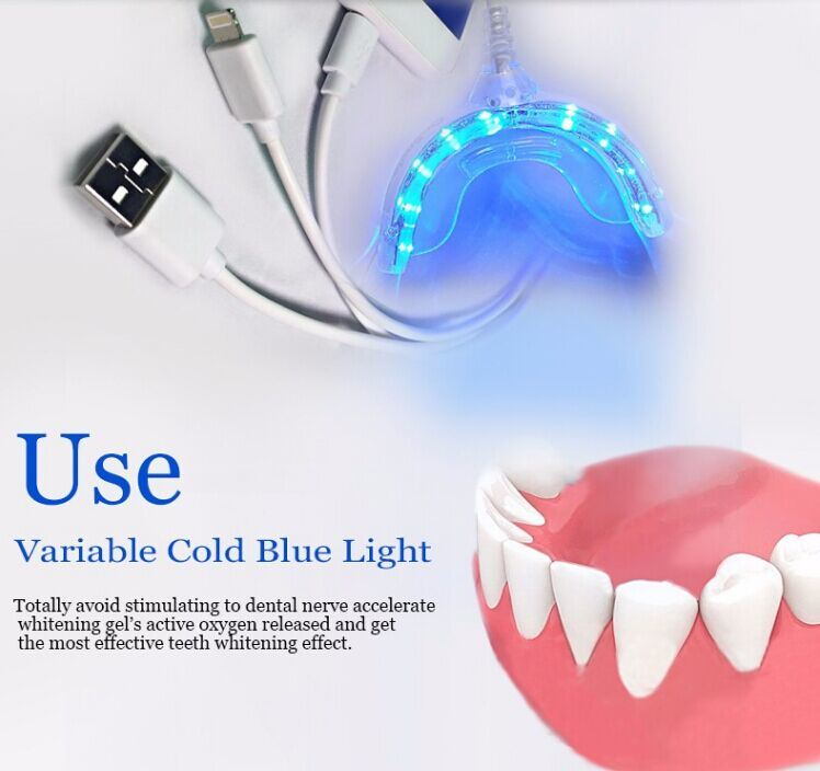 USB iPhone Silicone Teeth Whitening Light with 16 Mini LED Lights